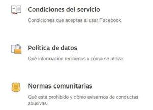 politicas de facebook